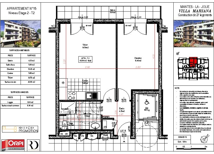 Appartement à vendre 43.6m2 à Mantes-la-Jolie