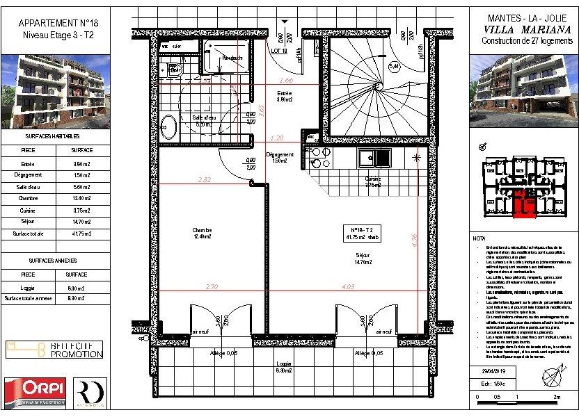 Appartement à vendre 42.35m2 à Mantes-la-Jolie