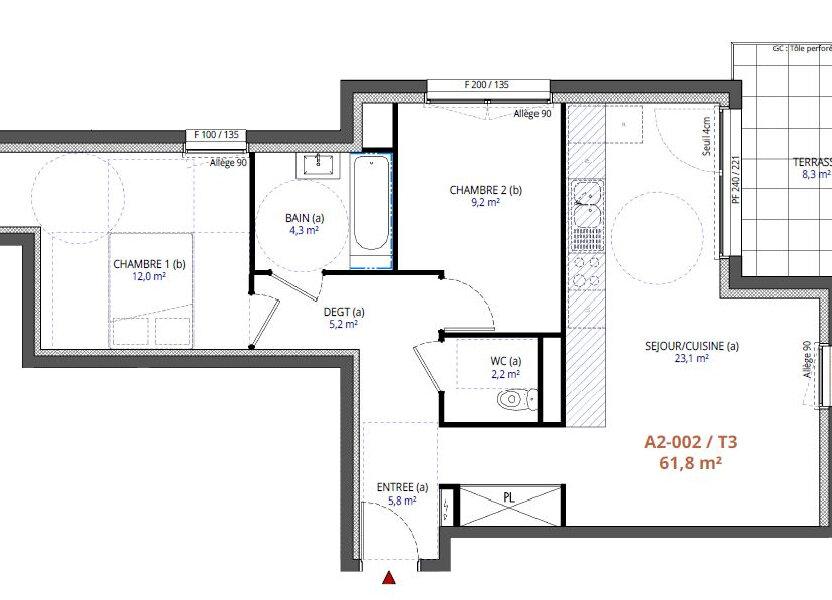 Appartement à vendre 61.8m2 à Metz