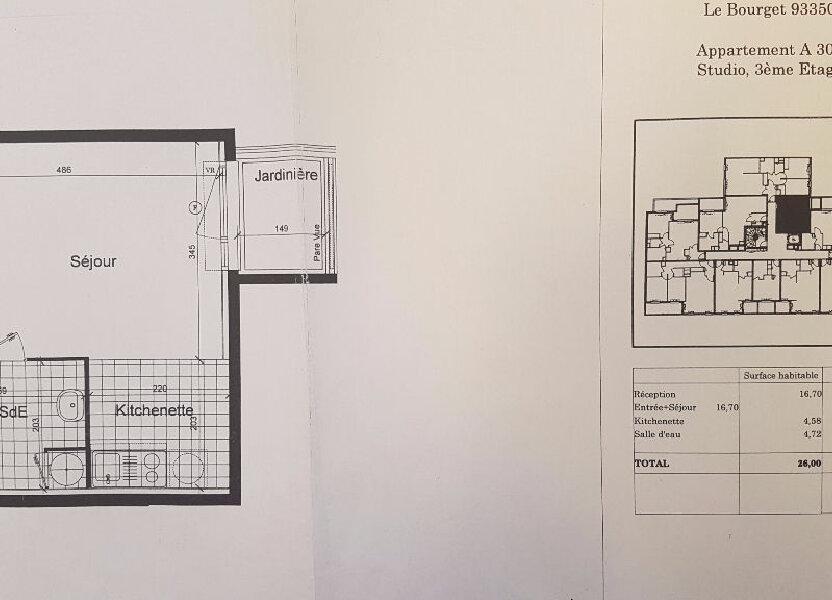 Appartement à louer 26m2 à Le Bourget
