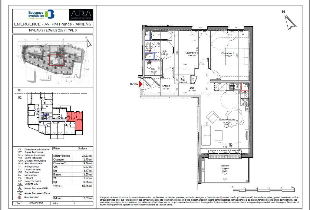 Appartement à vendre 3 60.46m2 à Amiens vignette-1