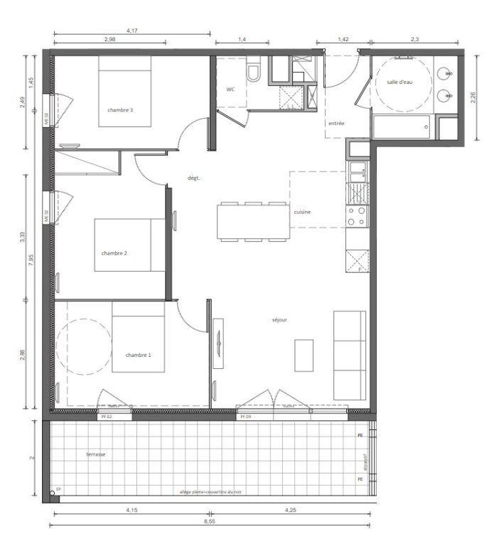 Appartement à vendre 81.96m2 à Marseillan