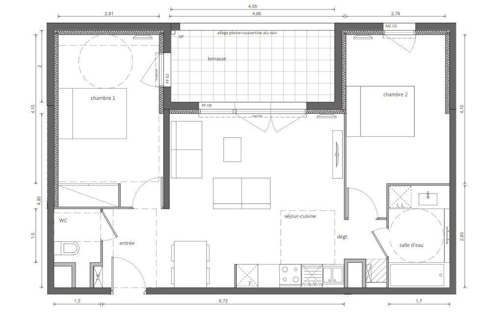 Appartement à vendre 3 62.85m2 à Marseillan plan-1