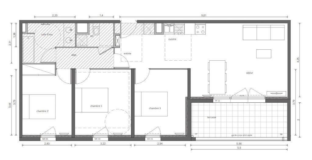 Appartement à vendre 4 81.56m2 à Marseillan plan-1