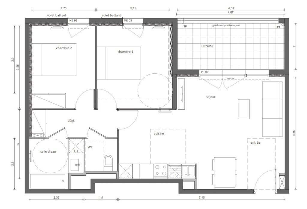 Appartement à vendre 61.82m2 à Marseillan