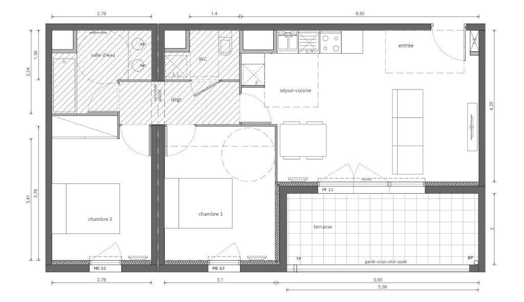 Appartement à vendre 3 60.38m2 à Marseillan vignette-3