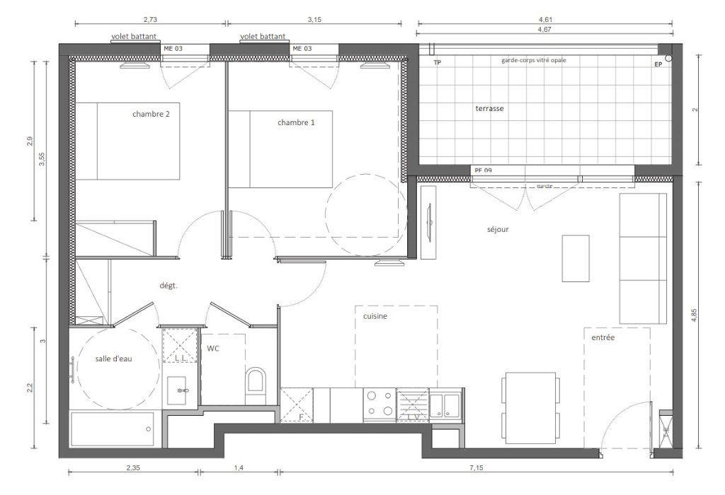 Appartement à vendre 3 61.82m2 à Marseillan vignette-3