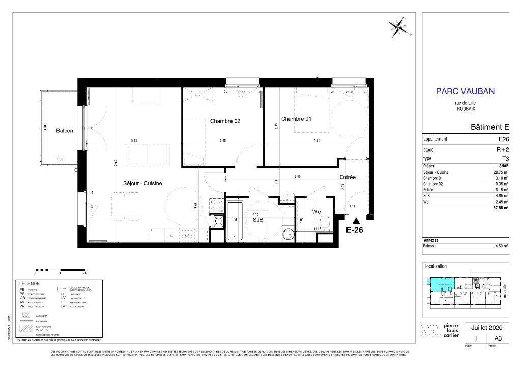 Appartement à vendre 3 67.7m2 à Roubaix vignette-2