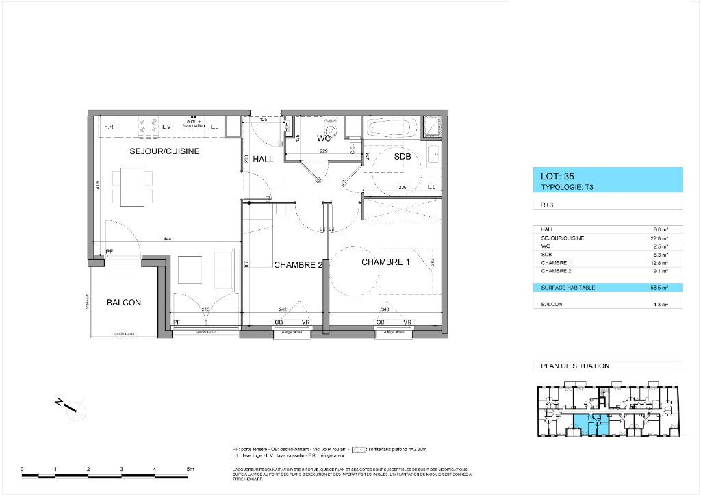 Appartement à vendre 3 58.6m2 à Roubaix vignette-3