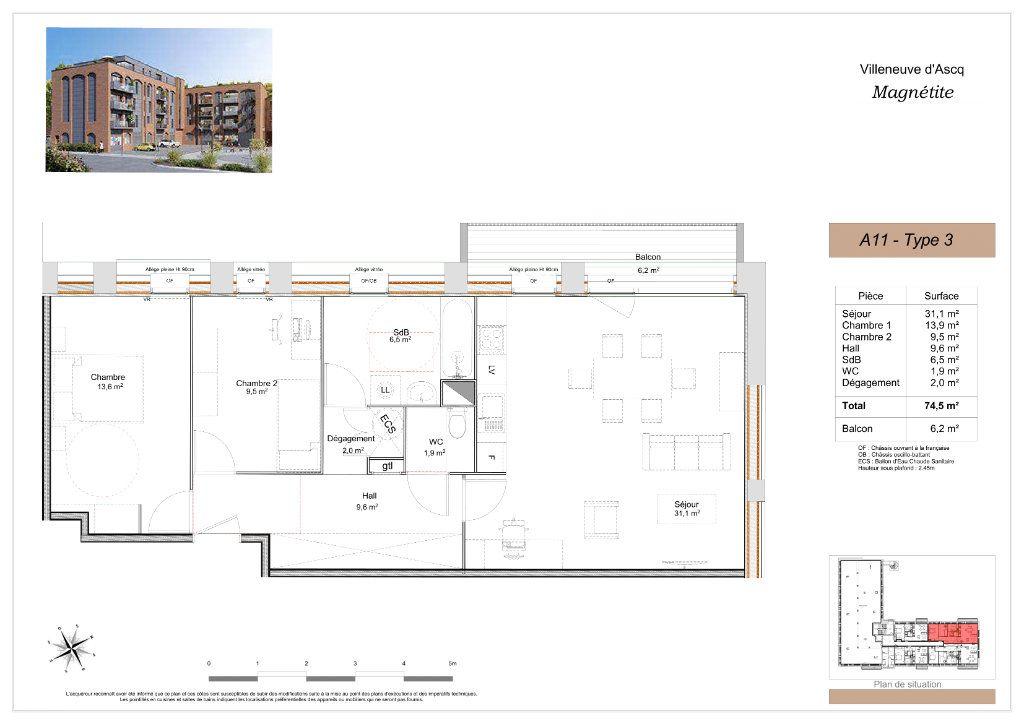 Appartement à vendre 3 74.5m2 à Villeneuve-d'Ascq vignette-2