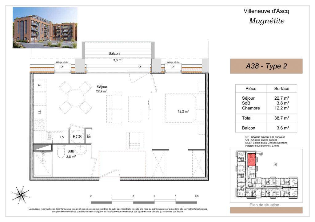 Appartement à vendre 2 38.4m2 à Villeneuve-d'Ascq vignette-2