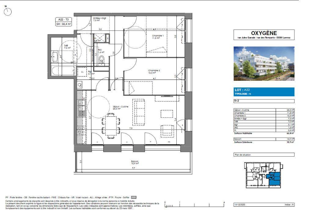 Appartement à vendre 3 66.6m2 à Lannoy vignette-3