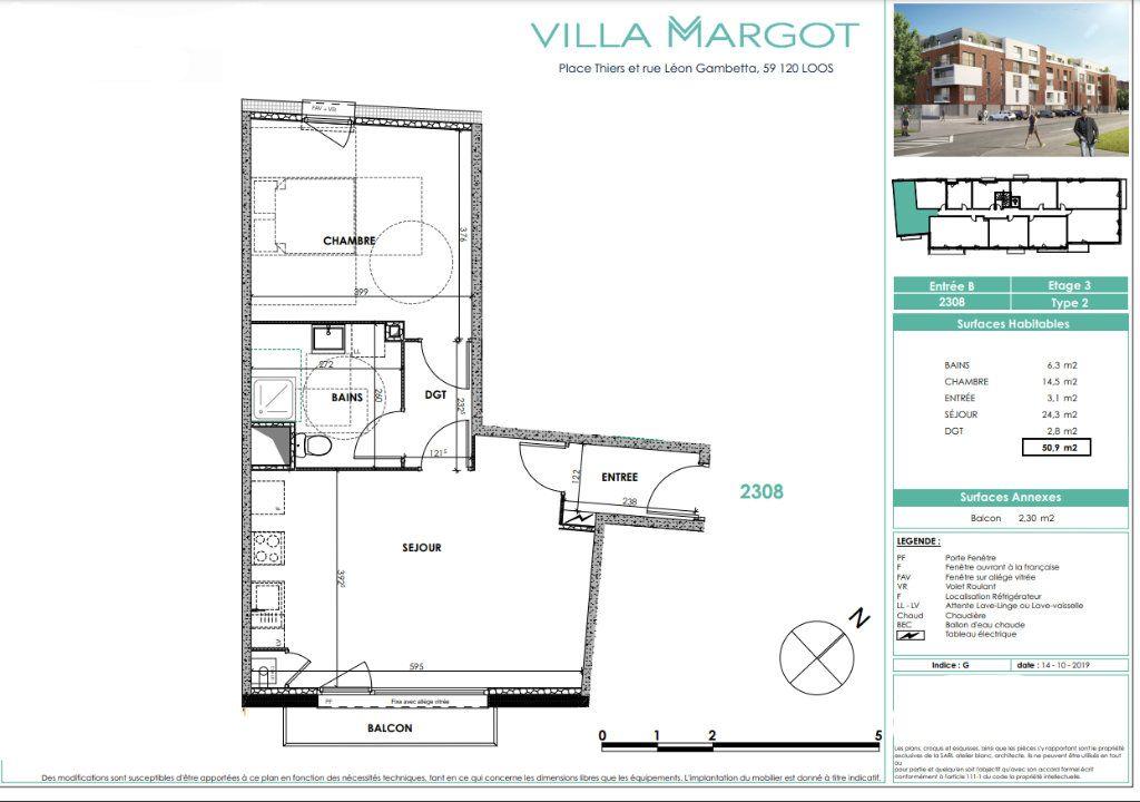 Appartement à vendre 2 50.8m2 à Loos vignette-3