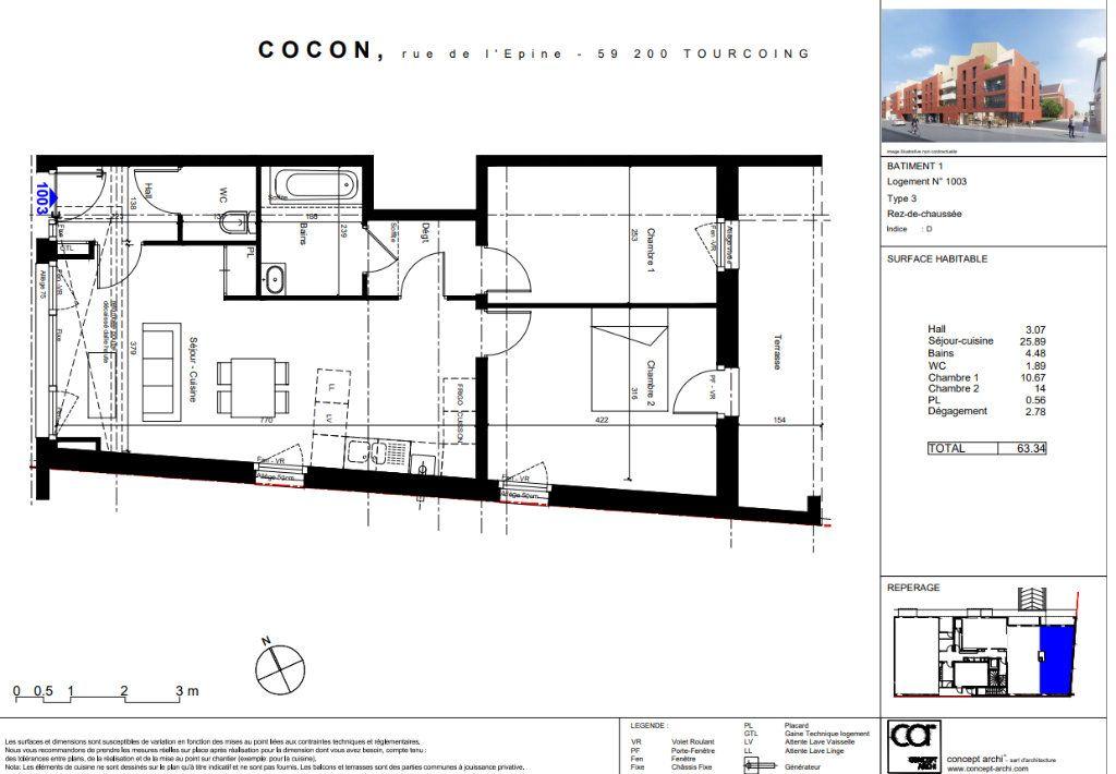 Appartement à vendre 3 63.34m2 à Tourcoing vignette-3