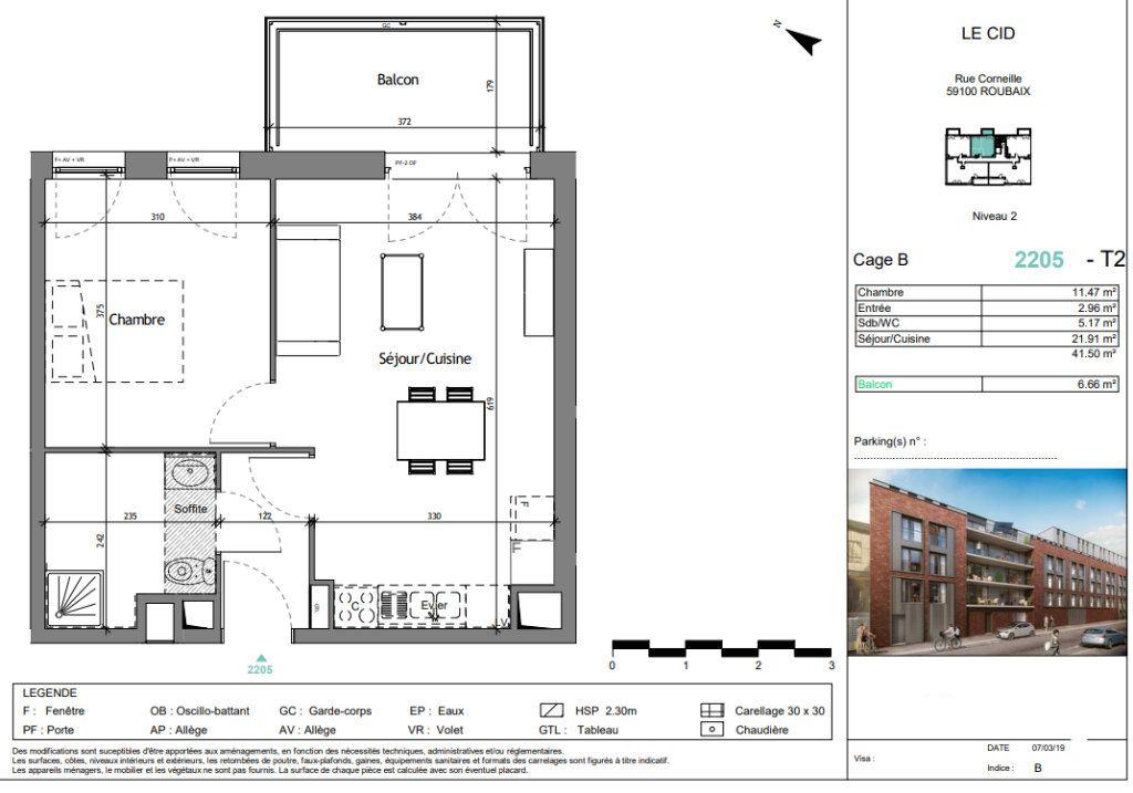 Appartement à vendre 2 41.5m2 à Roubaix vignette-3