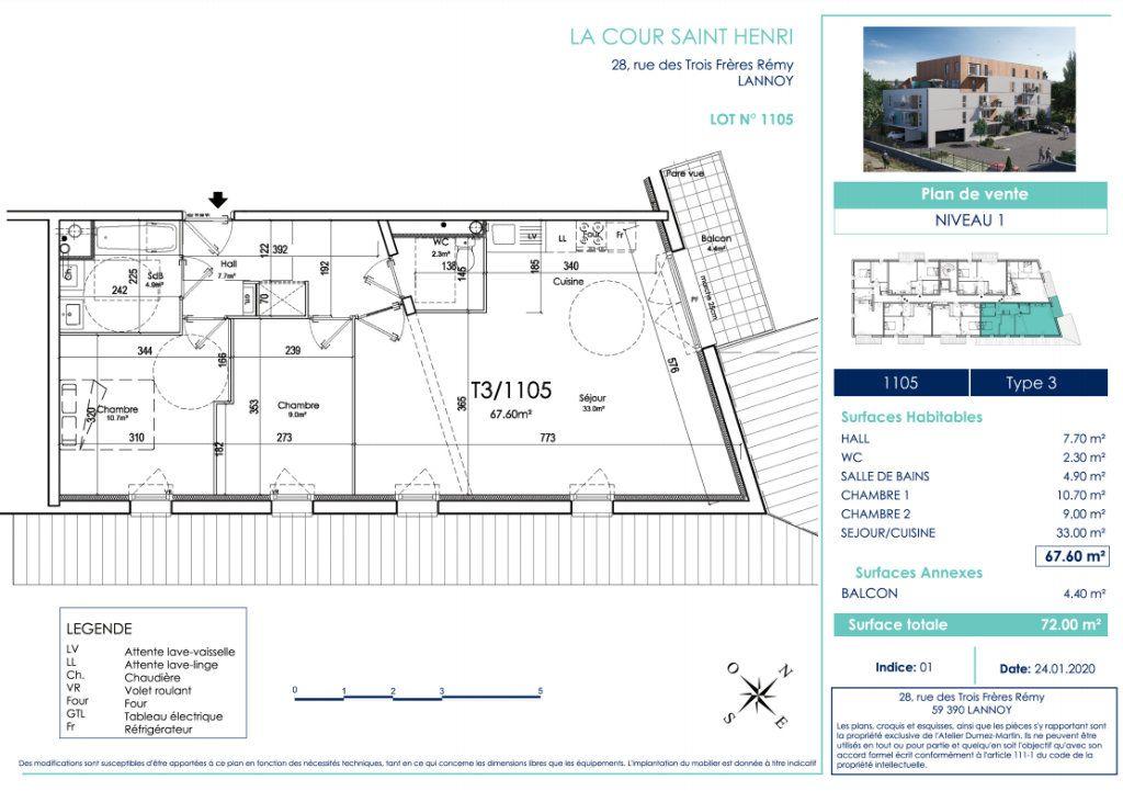 Appartement à vendre 3 67.6m2 à Lannoy vignette-2
