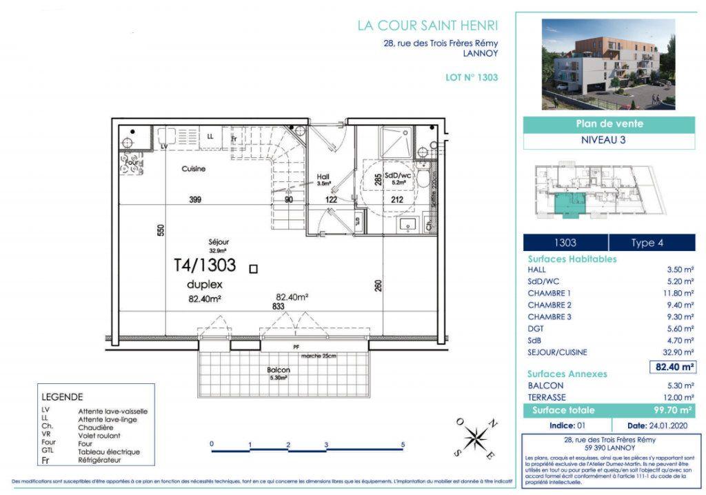 Appartement à vendre 4 82.4m2 à Lannoy vignette-2