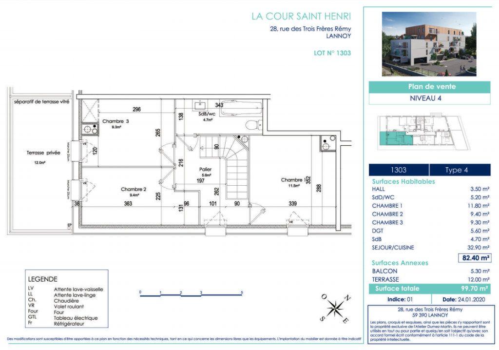 Appartement à vendre 4 82.4m2 à Lannoy vignette-3