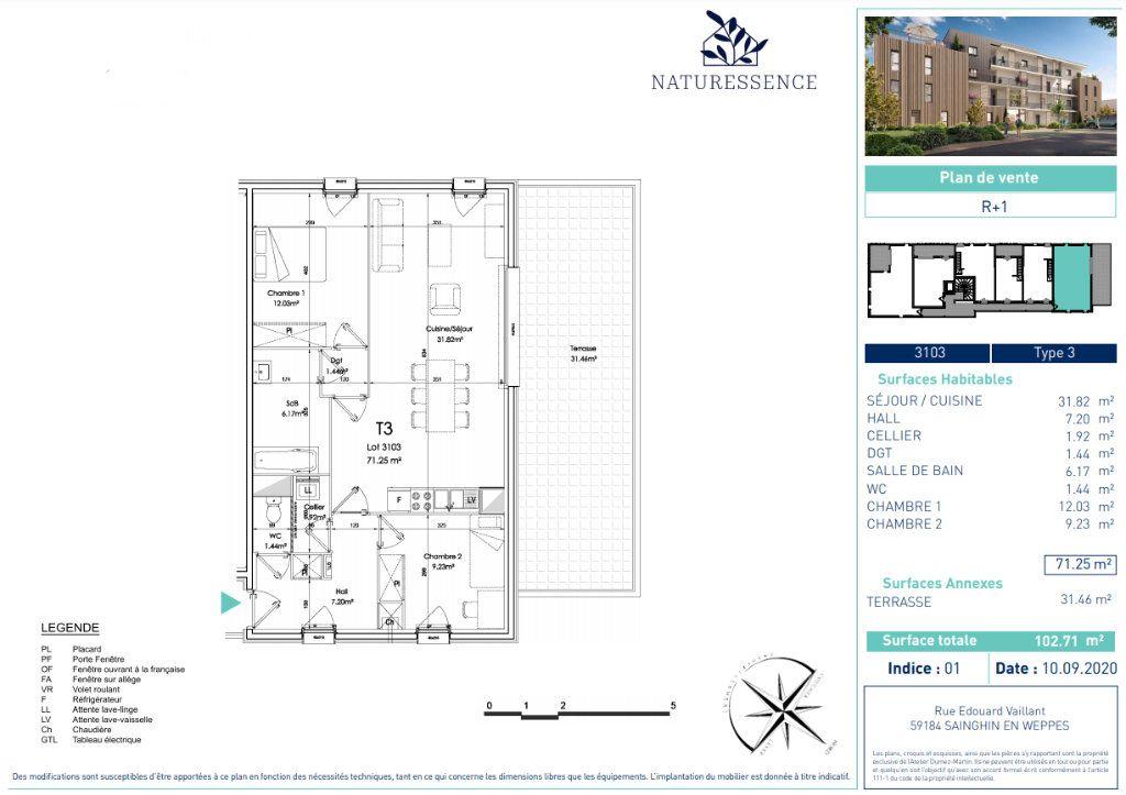 Appartement à vendre 3 71.25m2 à Sainghin-en-Weppes vignette-4