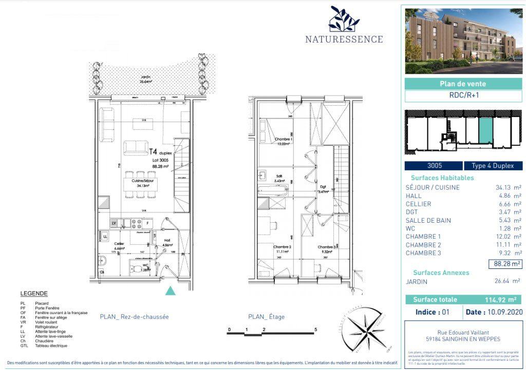 Appartement à vendre 4 88.28m2 à Sainghin-en-Weppes vignette-4