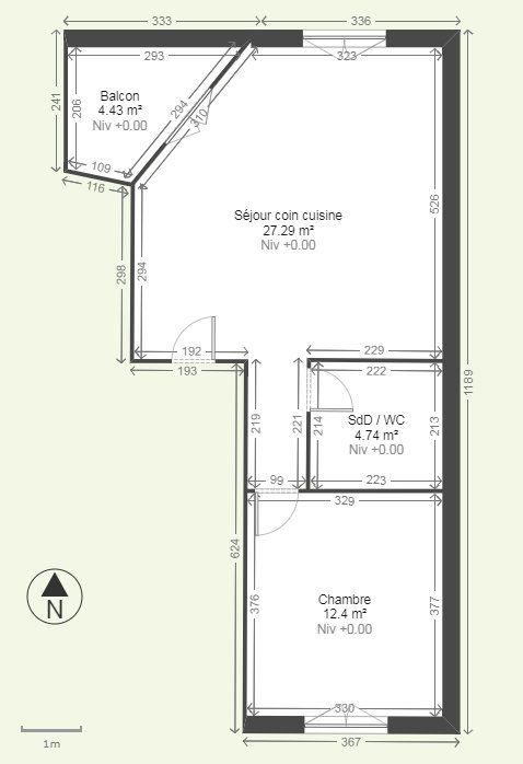 Appartement à louer 2 44.43m2 à Reims plan-1