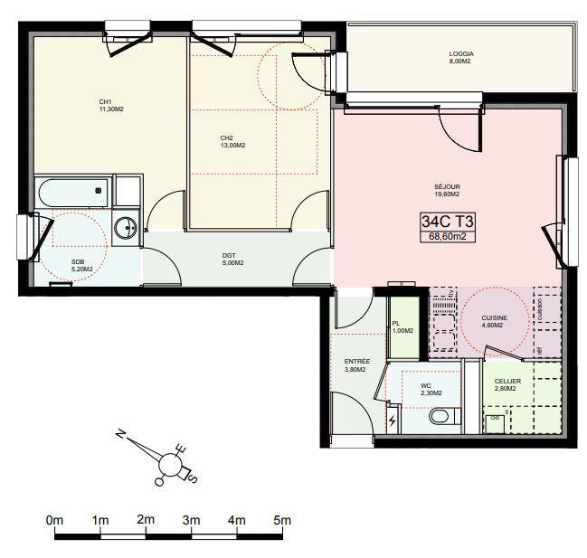 Appartement à louer 3 68.6m2 à Reims plan-1