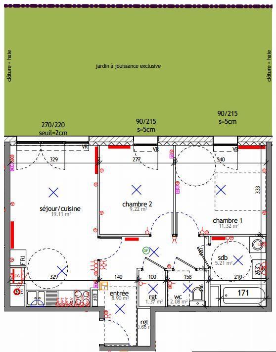Appartement à louer 3 57.87m2 à Reims plan-1