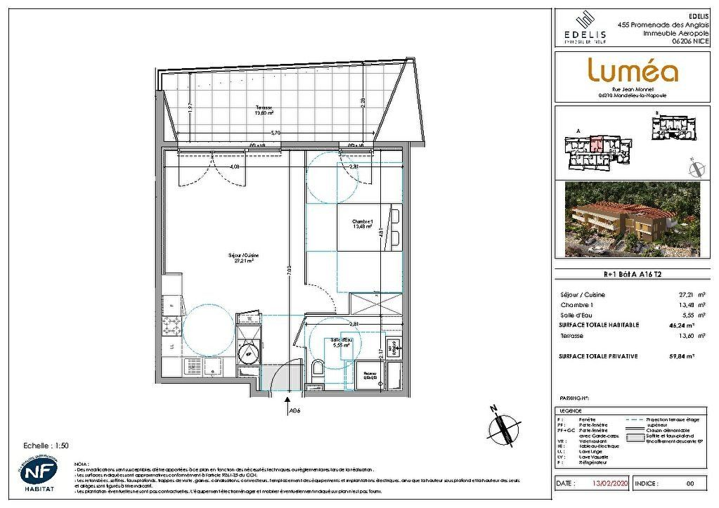 Appartement à vendre 2 46.24m2 à Mandelieu-la-Napoule plan-1