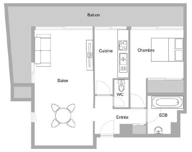 Appartement à vendre 2 51.42m2 à Mandelieu-la-Napoule plan-1