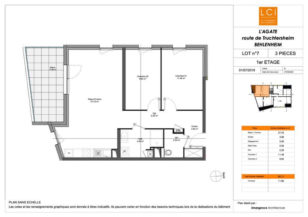 Appartement à vendre 3 65.11m2 à Truchtersheim plan-1
