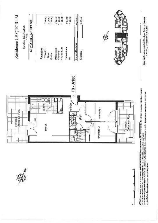 Appartement à louer 3 66.3m2 à Tours vignette-3
