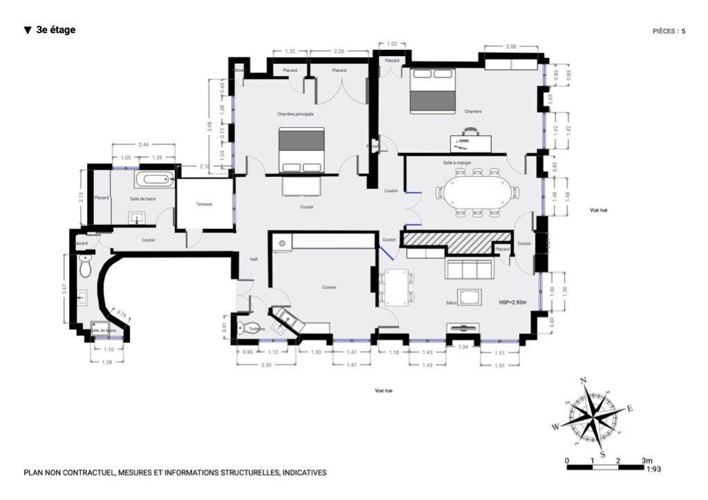 Appartement à louer 5 129.57m2 à Paris 7 plan-1