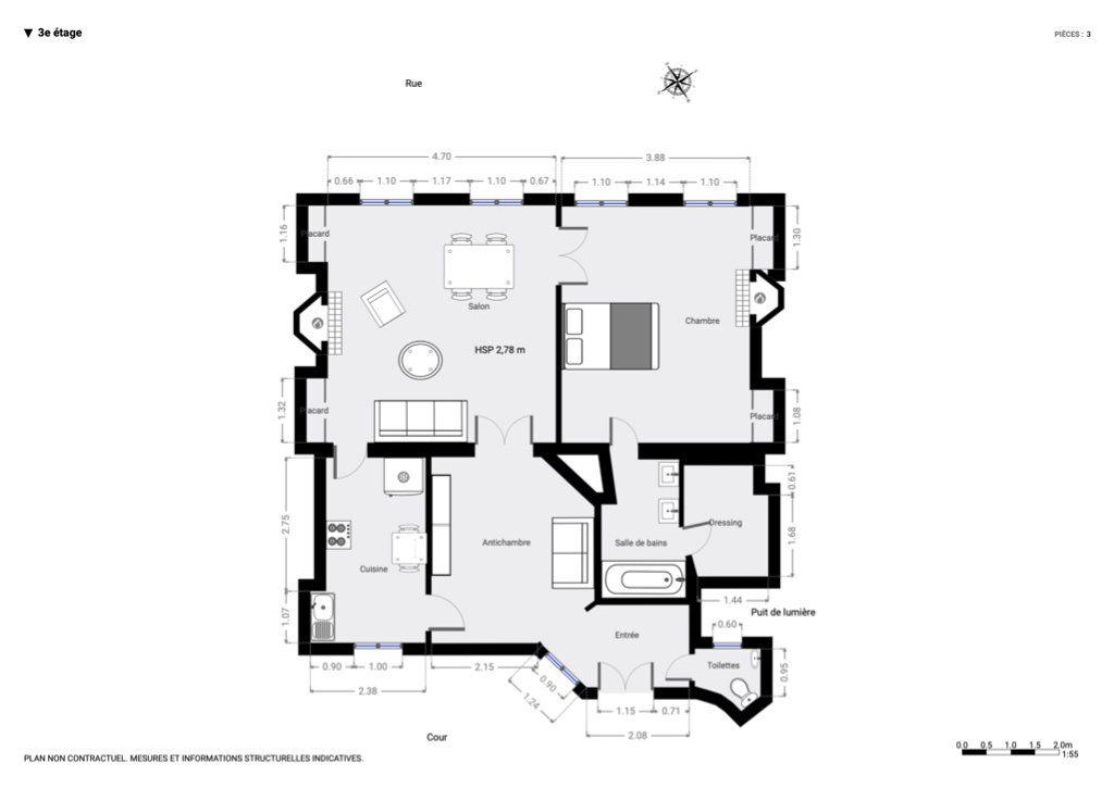 Appartement à louer 3 78.63m2 à Paris 7 plan-1