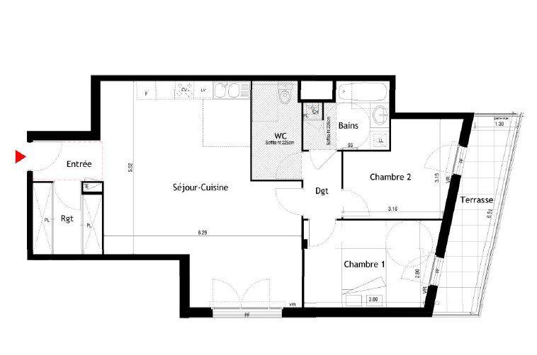 Appartement à louer 3 77.12m2 à Villeurbanne vignette-1