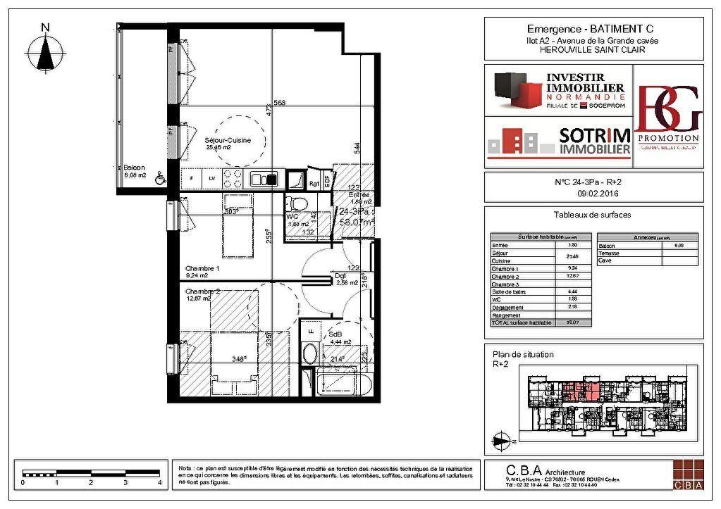 Appartement à louer 3 58.07m2 à Hérouville-Saint-Clair vignette-9