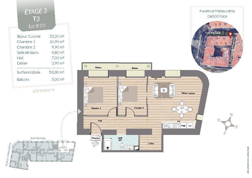 Appartement à vendre 3 59.8m2 à Nice vignette-3