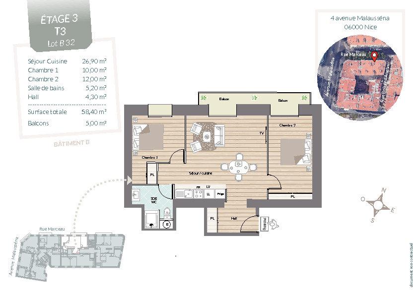 Appartement à vendre 3 58.4m2 à Nice vignette-3