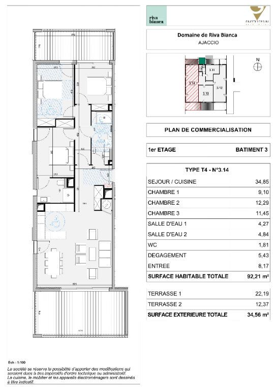 Appartement à vendre 4 92.21m2 à Ajaccio vignette-2