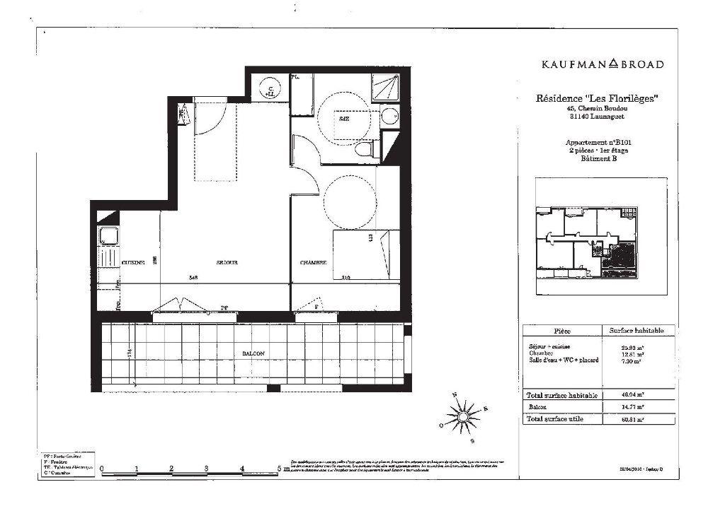 Appartement à vendre 2 46m2 à Launaguet plan-1