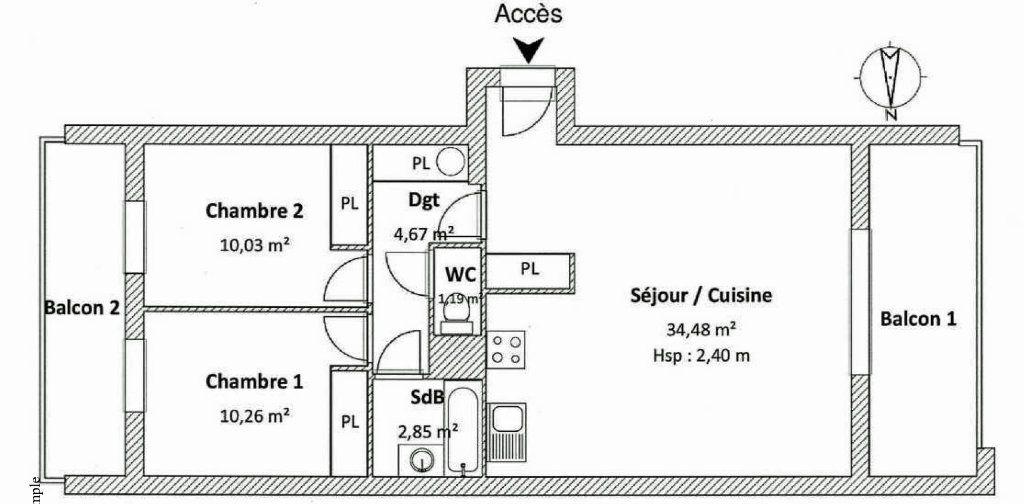 Appartement à louer 3 64m2 à Castelginest plan-1