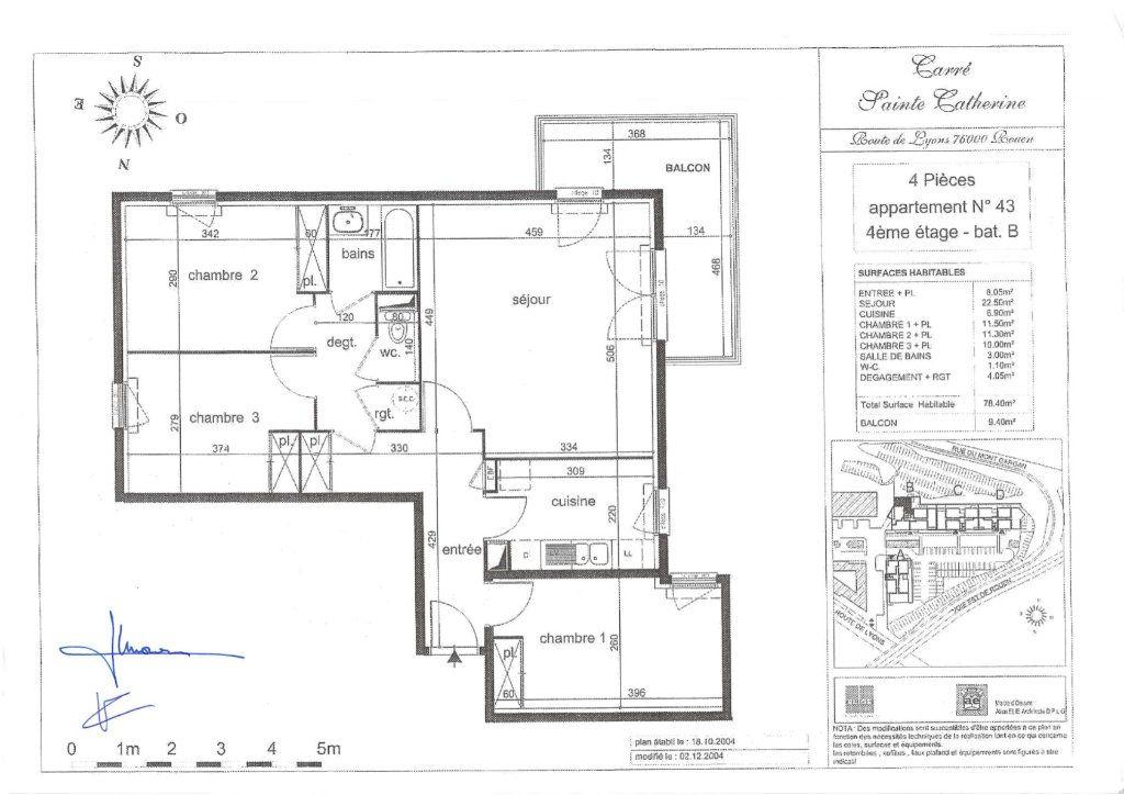 Appartement à vendre 4 78.4m2 à Rouen plan-1