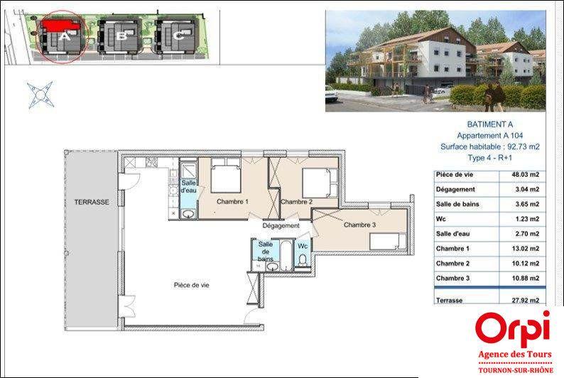 Appartement à vendre 3 92.73m2 à Tournon-sur-Rhône vignette-2
