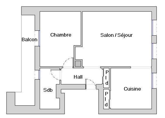 Appartement à louer 2 47m2 à Valence plan-1