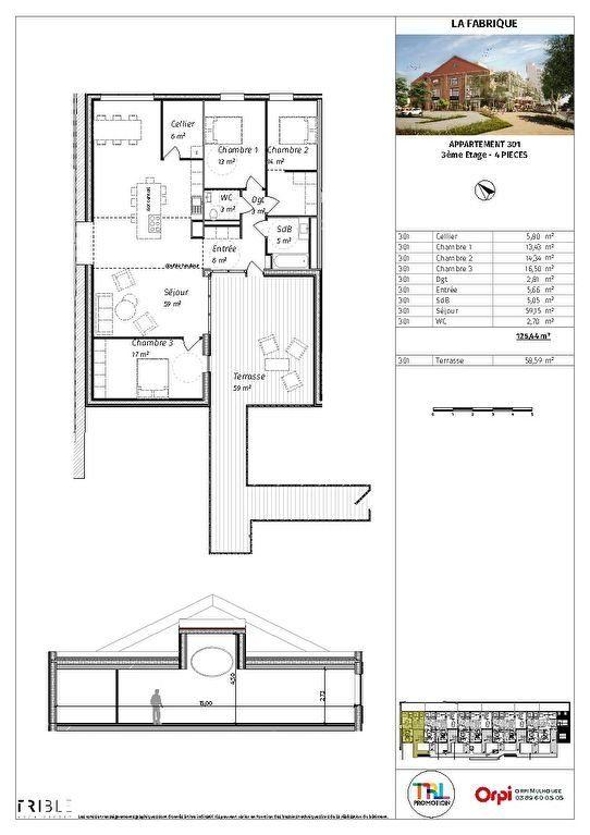 Appartement à vendre 3 76.93m2 à Mulhouse plan-1