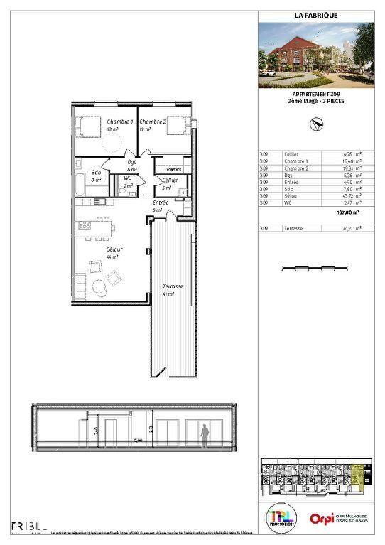Appartement à vendre 3 77.96m2 à Mulhouse plan-1