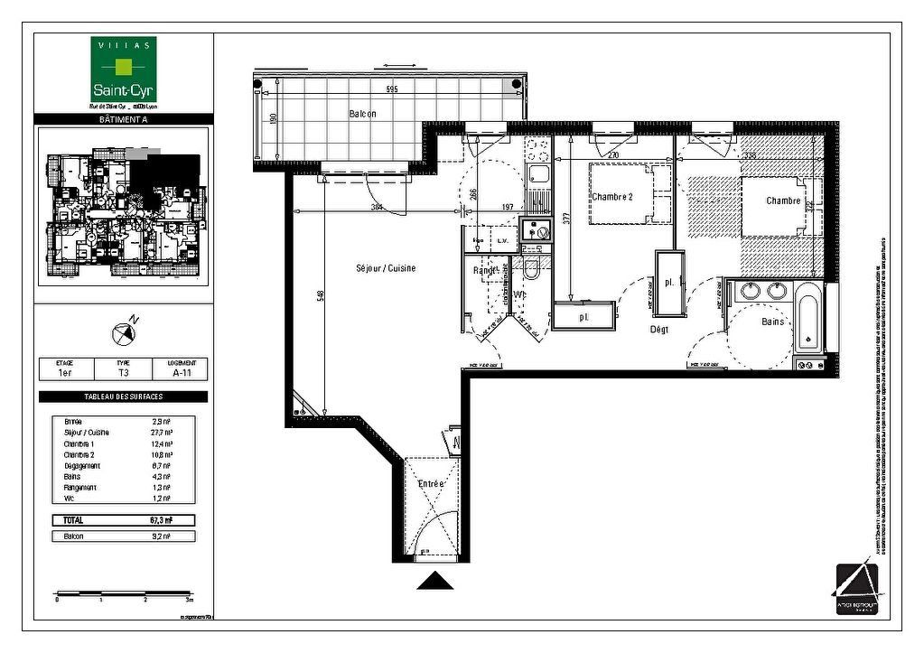 Appartement à vendre 3 67m2 à Lyon 9 plan-1