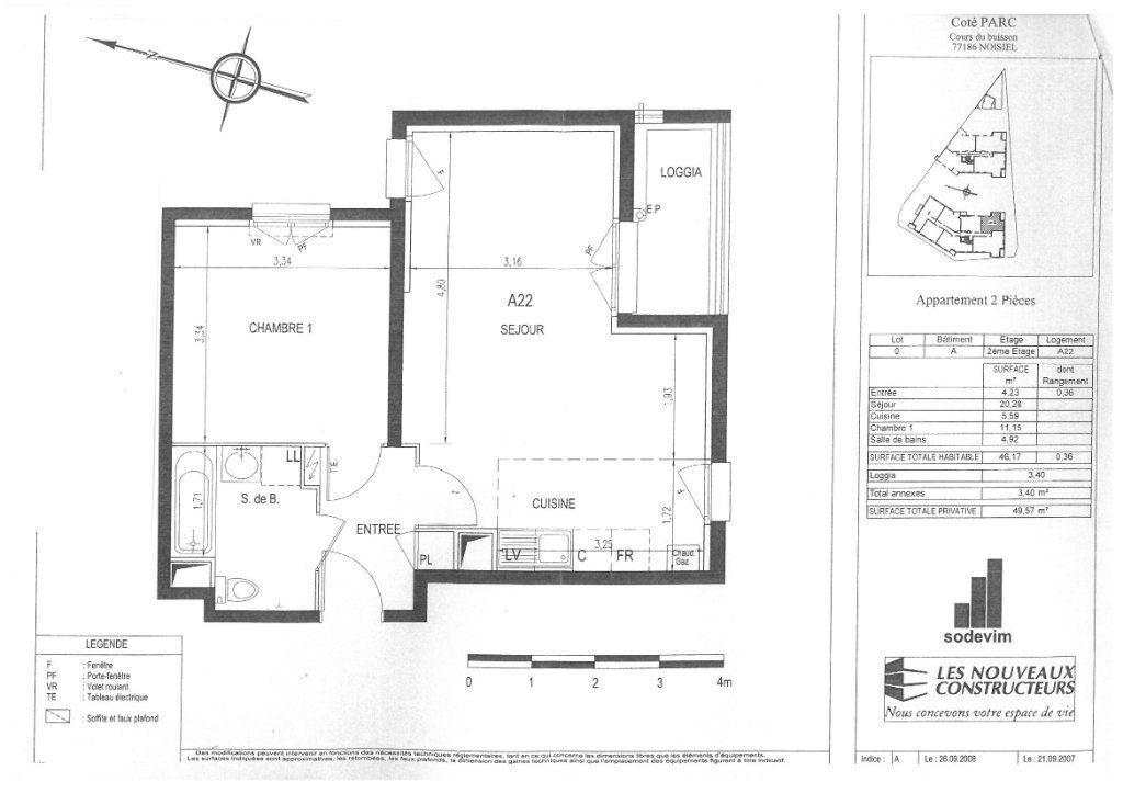 Appartement à louer 2 46.17m2 à Noisiel vignette-1
