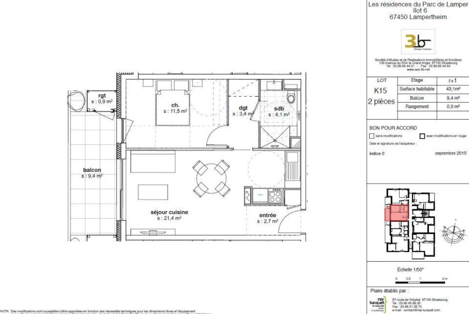 Appartement à louer 2 43.1m2 à Lampertheim vignette-1