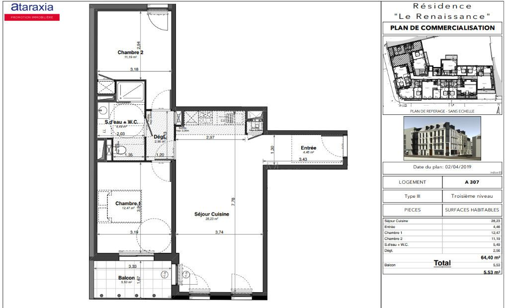 Appartement à louer 3 64.4m2 à Tours vignette-2