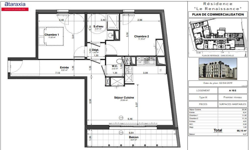 Appartement à louer 3 62.8m2 à Tours vignette-2